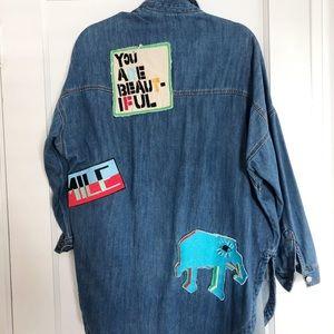 Zara Patchwork Denimwear Tunic Jacket. Size Small